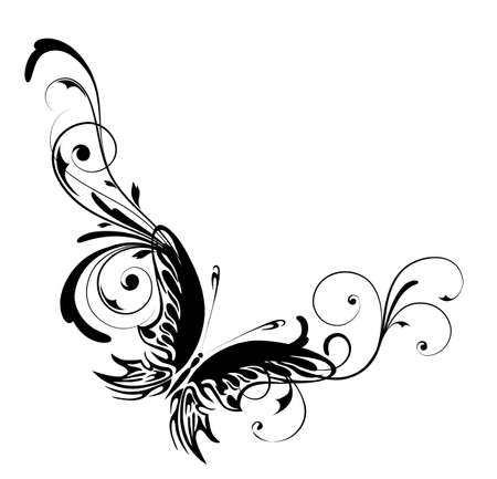 Background with butterfly on a white background Vector