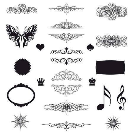 vector set  calligraphic design elements and page decoration - lots of useful elements to embellish your layout  Stock Vector - 17121719