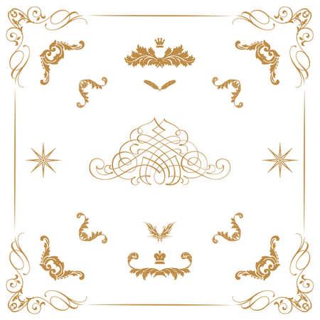 motive: Vector set of gold dekorative horizontale floralen Elementen, Ecken, R�nder, Rahmen, Krone Page Dekoration
