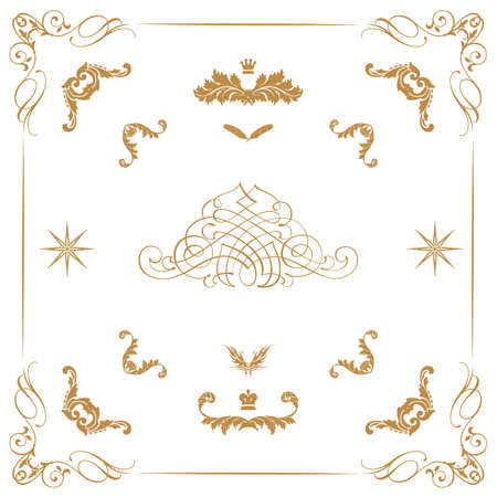 page decoration: Vector set van gouden decoratieve horizontale florale elementen, hoeken, randen, frame, kroon Page decoratie