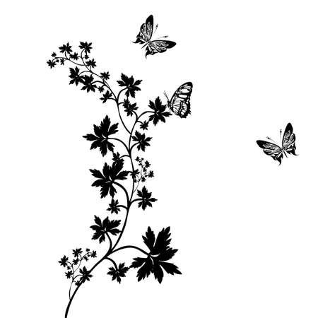 vintage grunge image: Vector Vector ornamento decorativo ornamento floreale con farfalla, elemento di design