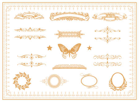 Set of design elements  labels, borders, frames, etc  Could be used for page decoration, certificate, etc  Stock Vector - 17179988