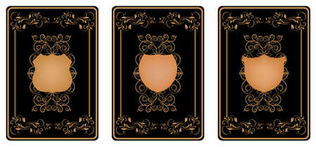 three gold vip cards with pattern  Vector