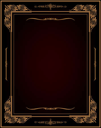 Vintage black background, antique gold frame, victorian ornament, beautiful old paper, certificate, award, royal diploma, ornate cover page, floral luxury rich ornamental