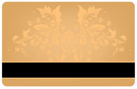 Gold Card with Vintage Pattern  Vector