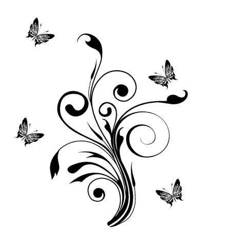 Decorative  ornament  floral ornament with butterfly, element for design  Vector