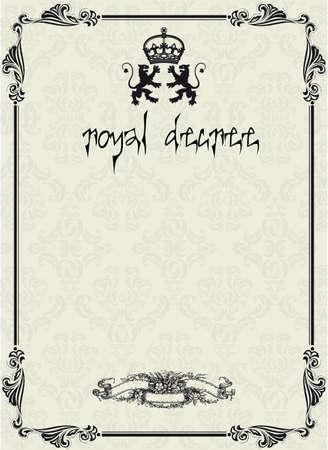 papiro: Un design elemento di sfondo di un documento antico documento storico di scorrimento o di un decreto con il sigillo di cera rossa Vettoriali