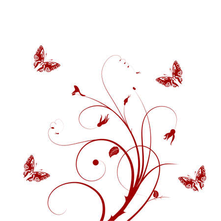 Decorative vector ornament  Vector floral ornament with butterfly, element for design  Stock Vector - 17335035