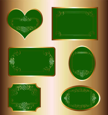 vintage golden-green luxury ornate framed labels decorated patterns, banners, ribbons and ornaments - on a wood texture  Vector