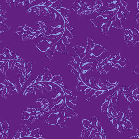 Wallpaper with floral ornament with leafs and flowers for vintage design, Vector retro background  Vector