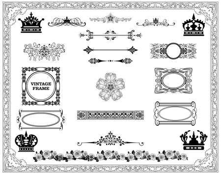 set  calligraphic design elements and page decoration - lots of useful elements to embellish your layout  Stock Vector - 17419008