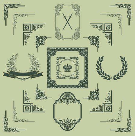 set of decorative horizontal floral elements, corners, borders, frame, crown  Page decoration   Vector