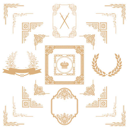 refine: Set di oro decorativi floreali elementi orizzontali, angoli, bordi, cornice, decorazione Pagina corona