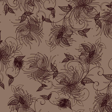 Wallpaper with floral ornament with leafs and flowers for vintage design,  retro background  Stock Vector - 17419070