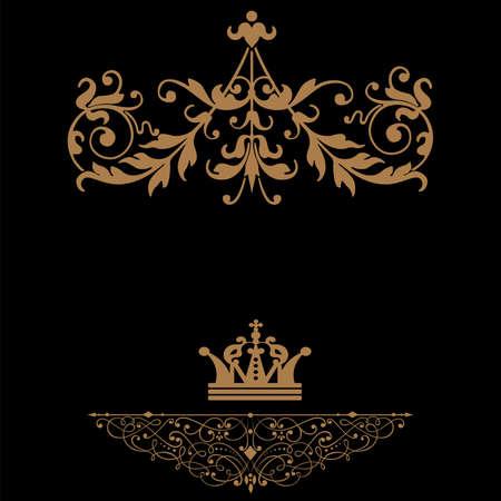 Elegant gold frame banner with crown, floral elements on the ornate background  illustration   Stock Vector - 17474779