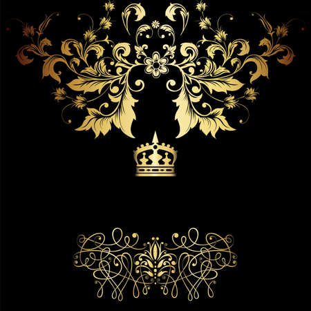 Elegant gold frame banner with crown, floral elements on the ornate background  Vector illustration   Stock Vector - 17512662