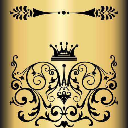 Elegant gold frame banner with crown, floral elements on the ornate background  Vector illustration   Stock Vector - 17512657