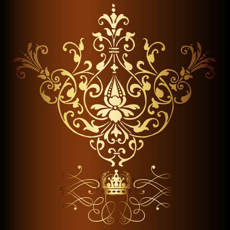 Elegant gold frame banner with crown, floral elements on the ornate background  Vector illustration   Stock Vector - 17512658
