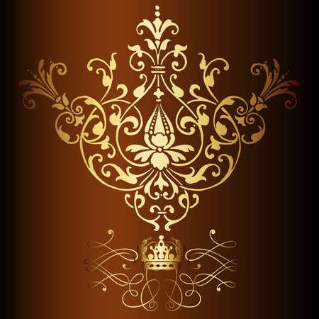Elegant gold frame banner with crown, floral elements on the ornate background  Vector illustration