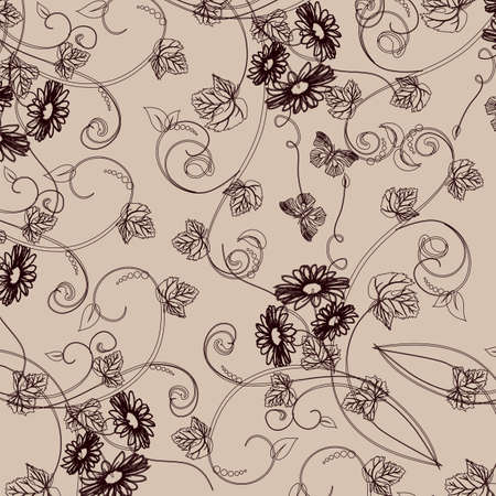 Wallpaper with floral ornament with leafs and flowers for vintage design, Vector retro background  Stock Vector - 17512670