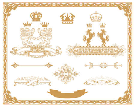 set of gold decorativel elements, corners, borders, frame, crown  Page decoration   Stock Vector - 17652817