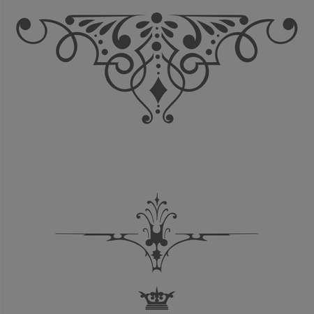 Elegant  frame banner with crown, floral elements on the ornate background  Vector illustration   Vector