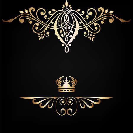 Elegant  frame banner with crown, floral elements on the ornate background  Vector illustration