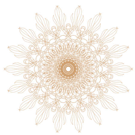 Decorative gold and frame with vintage round patterns on white  Stock Vector - 17778492
