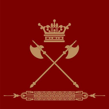 Vintage emblem  Emblem antique, coat of arms  lions hold the shield, crown, banner  Vector illustration   Vector