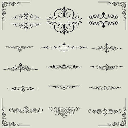 vector set  calligraphic design elements and page decoration - lots of useful elements to embellish your layout  Stock Vector - 17965528