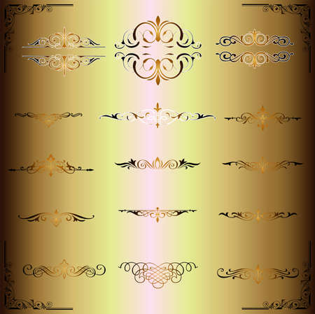 vector set  calligraphic design gold elements and page decoration - lots of useful elements to embellish your layout Stock Vector - 17965529