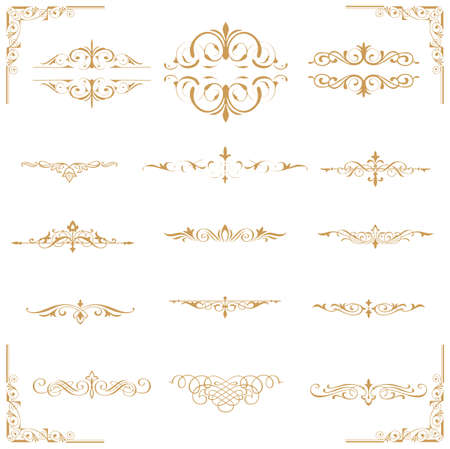 calligraphic design gold elements and page decoration - lots of useful elements to embellish your layout  Stock Vector - 17965530