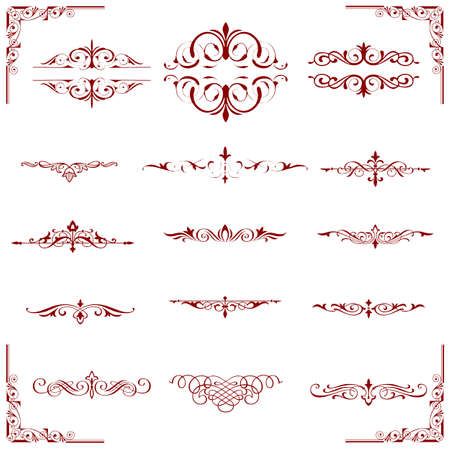 calligraphic design red elements and page decoration - lots of useful elements to embellish your layout Stock Vector - 17965532