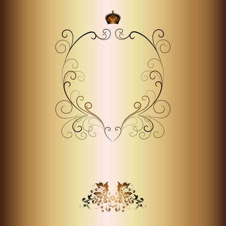 Elegant gold frame banner with crown, floral elements on the ornate background   Vector