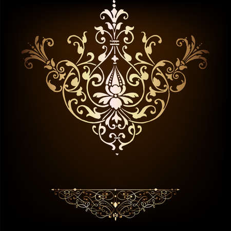 Elegant gold frame banner , floral elements on the ornate background   Stock Vector - 17965506