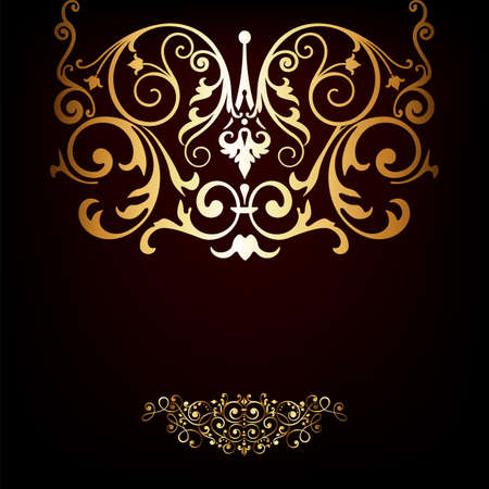 Elegant gold frame banner , floral elements on the ornate background   Vector
