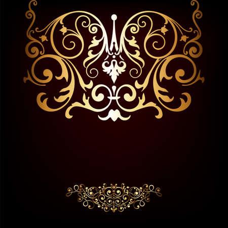 royal rich style: Elegant gold frame banner , floral elements on the ornate background   Illustration