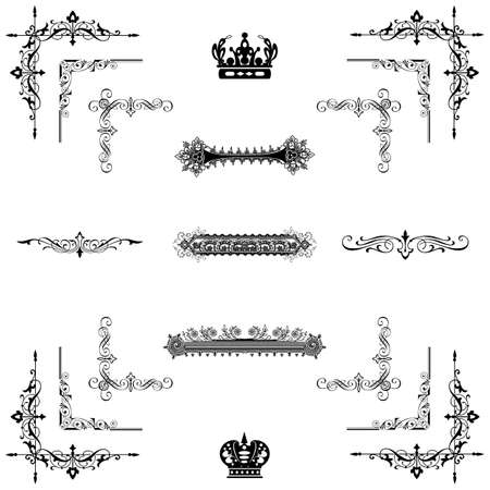 Vector set of  decorative horizontal floral elements, corners, borders, frame, crown  Page decoration   Stock Vector - 17965533