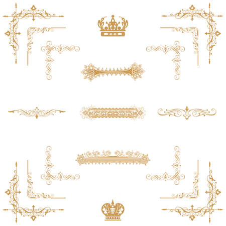 Vector set of gold decorative horizontal floral elements, corners, borders, frame, crown  Page decoration   Stock Vector - 17965531