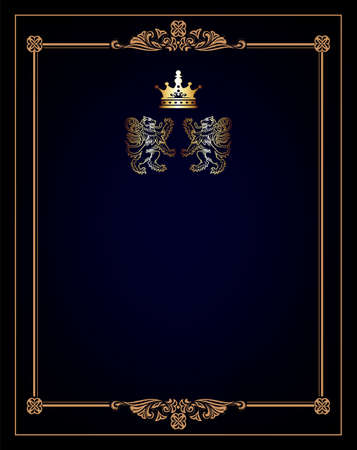 Vintage black background, antique gold frame, victorian ornament, beautiful old paper, certificate, award, royal diploma, ornate cover page, floral luxury rich ornamental  Stock Vector - 17965511