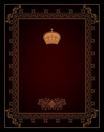 Vintage black background, antique gold frame, victorian ornament, beautiful old paper, certificate, award, royal diploma, ornate cover page, floral luxury rich ornamental  Stock Vector - 17965508