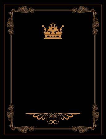 copertina libro antico: Vintage sfondo nero, cornice d'oro antico, ornamento vittoriano, bello vecchia carta, certificato, premio, diploma reale, copertina ornato, lusso, ricco floreale ornamentale