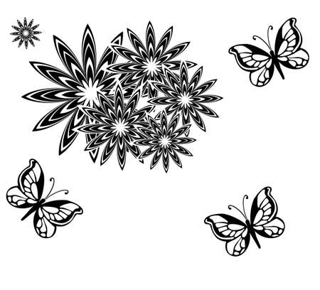 Vector illustration - black butterfly on a white background  Vector