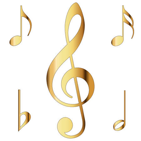 Various musical notes in gold  Vector