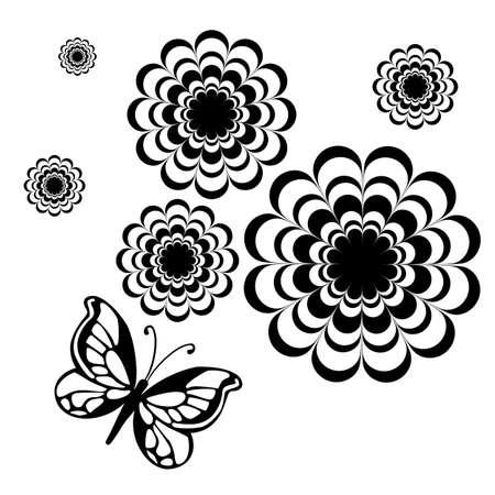tatuaje mariposa: ilustraci�n - mariposa negro sobre un fondo blanco Vectores