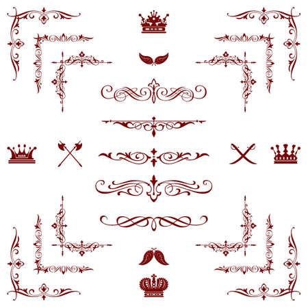 紅色的裝飾水平花卉元素,角落,邊界,框架,冠裝飾頁
