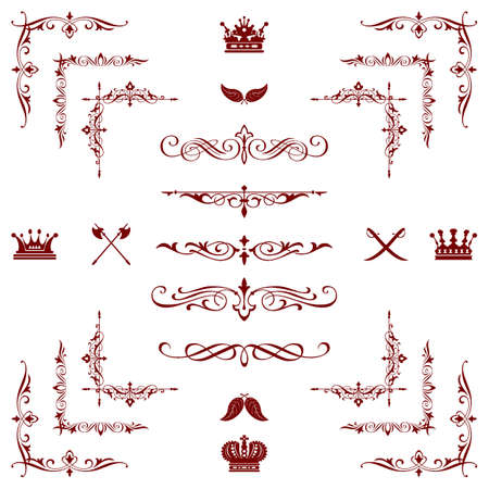 red decorative horizontal floral elements, corners, borders, frame, crown  Page decoration