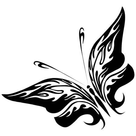 farfalla nera: Illustrazione vettoriale - farfalla nera su uno sfondo bianco