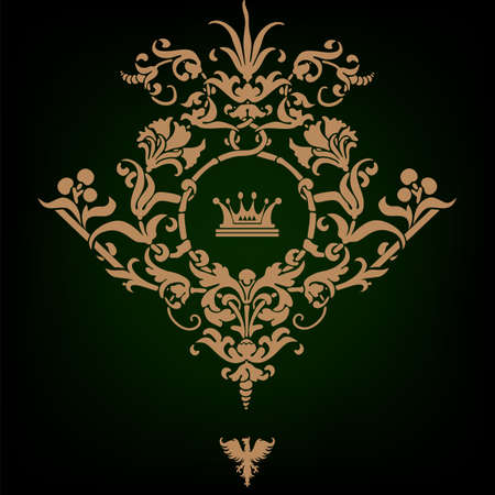 Elegant gold frame banner with crown, floral elements on the ornate background  Vector illustration   Vector