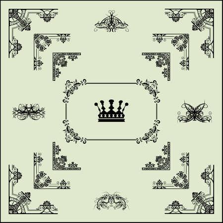 Vector set of  decorative horizontal floral elements, corners, borders, frame, crown   Vector